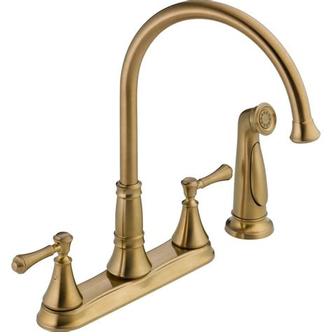delta bronze kitchen faucets delta cassidy 2 handle standard kitchen faucet with side sprayer in chagne bronze 2497lf cz