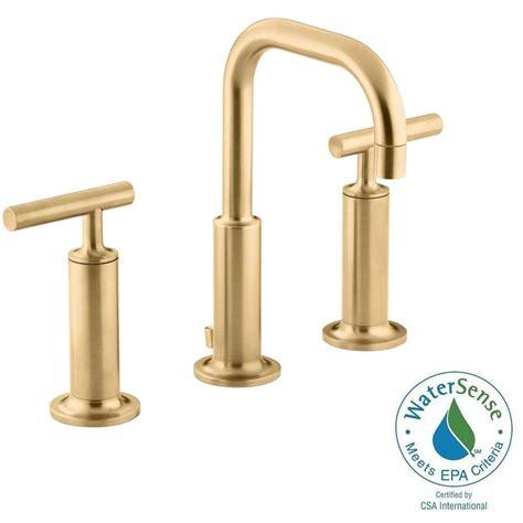 bathroom faucet modern kohler purist 8 in widespread 2 handle low arc bathroom
