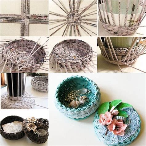 crafts with newspaper for diy covered woven basket from newspaper fab diy