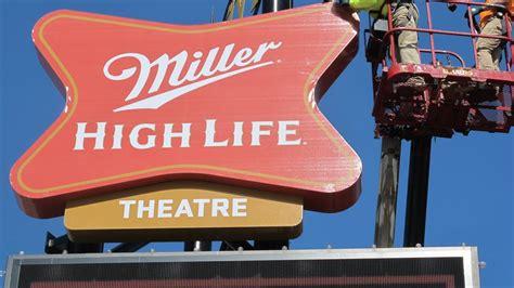 miller lights milwaukee advertising miller high theatre lights up milwaukee