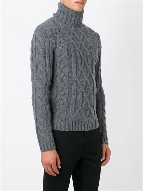 gray cable knit sweater woolrich cable knit turtleneck sweater in gray for