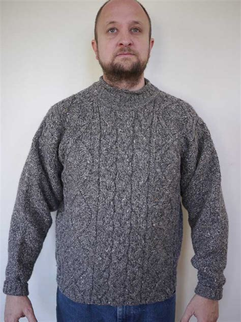 scottish knit sweaters vintage scottish chunky cable knit grey 100 wool