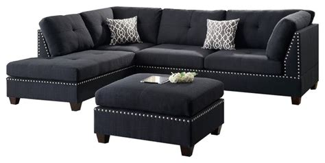 sectional sofa and ottoman set contemporary sectional sofa and ottoman set black