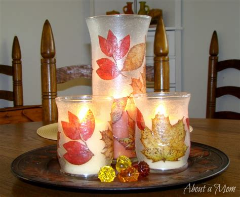 candle craft projects fall decoupage candle holder dollar store craft project