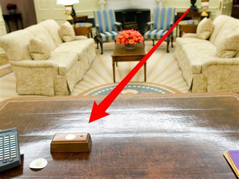 the oval office desk has a button on his desk to summon a butler