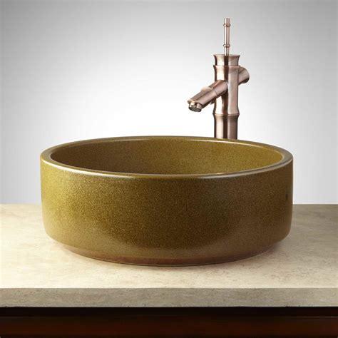 Pottery Vessel Sinks by Peoria Hand Glazed Pottery Vessel Sink Olive Green Ebay