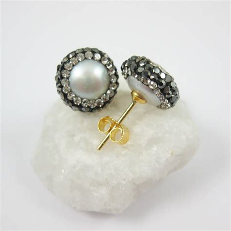 earring posts for jewelry silver freshwater pearl pave earring 22k gold plated