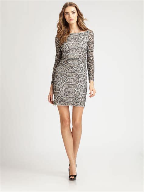 silver beaded dress aidan mattox beaded dress in silver lyst