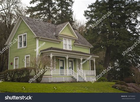 fashioned house oldfashioned farm house porch stock photo 130732823