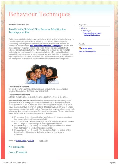 Behaviour Modification Of A Child by Trouble With Children Give Behavior Modification