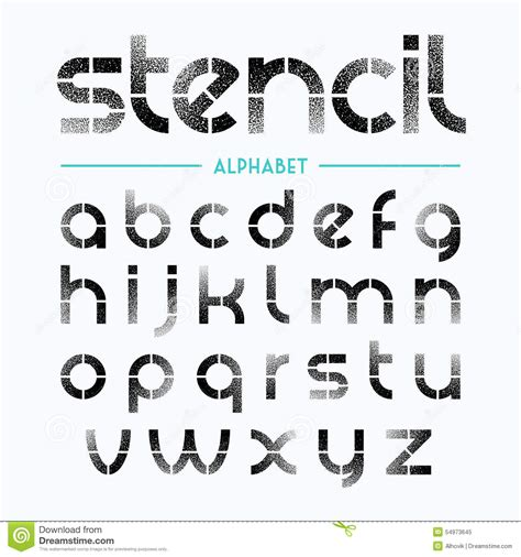 spray paint font numbers spray painted stencil alphabet letters stock vector