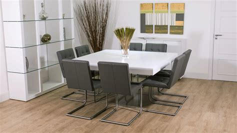 white oak square dining table glass legs seats 6 8