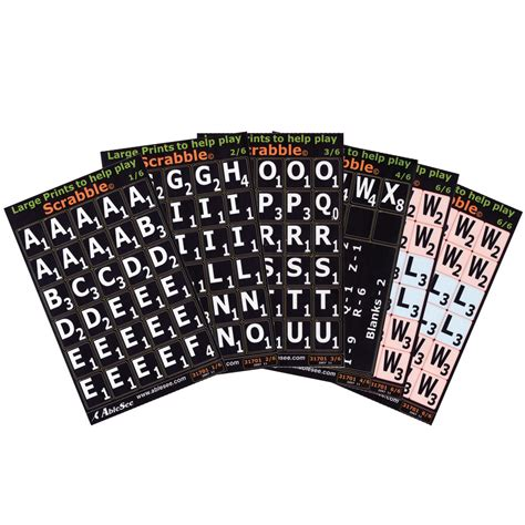 Large Print Scrabble Tile Overlays