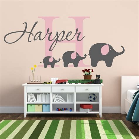 vinyl wall decals nursery removable custom name elephant wall decal nursery baby