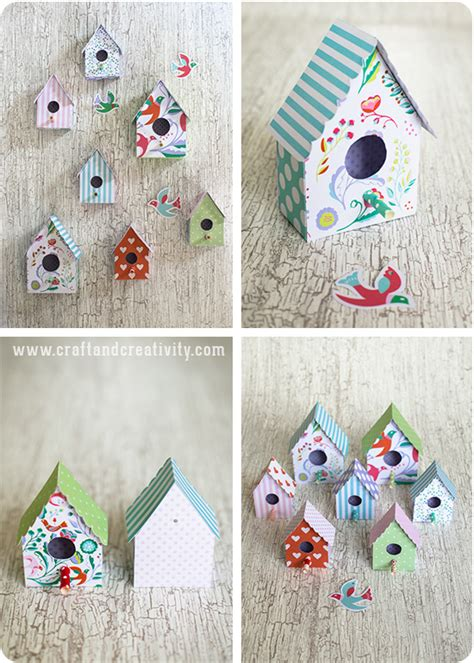 free printable 3d paper crafts f 229 gelhus i papper med mall paper birdhouse with template