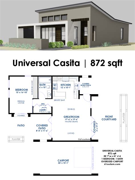 modern house plan universal casita house plan 61custom contemporary modern house plans