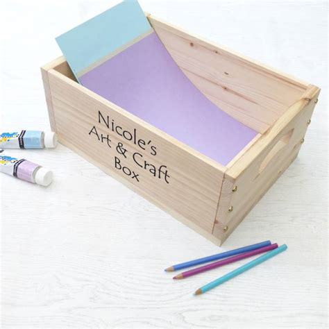 arts and crafts storage for personalised and craft wooden storage box by