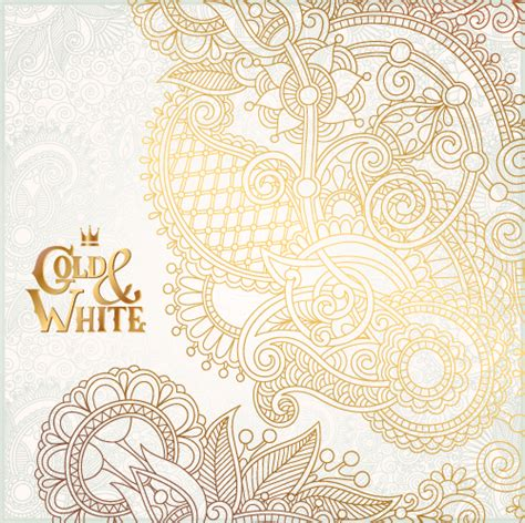 ornament background gold with white floral ornaments background vector