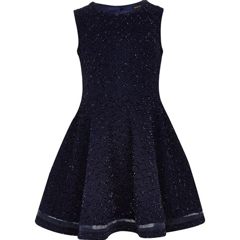 navy blue knitted dress river island navy knit look skater dress in blue lyst
