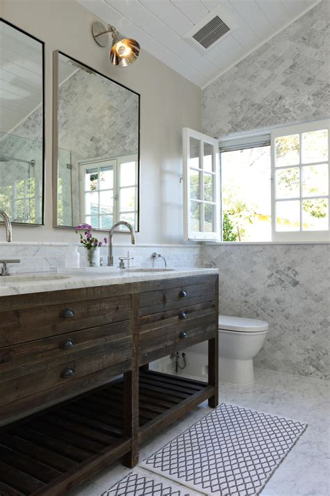 bathroom vanity marble the rustic wood vanity is a striking contrast to the