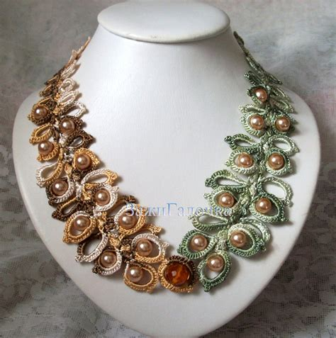 crochet bead necklace crochet necklace with by zajigalochka on deviantart