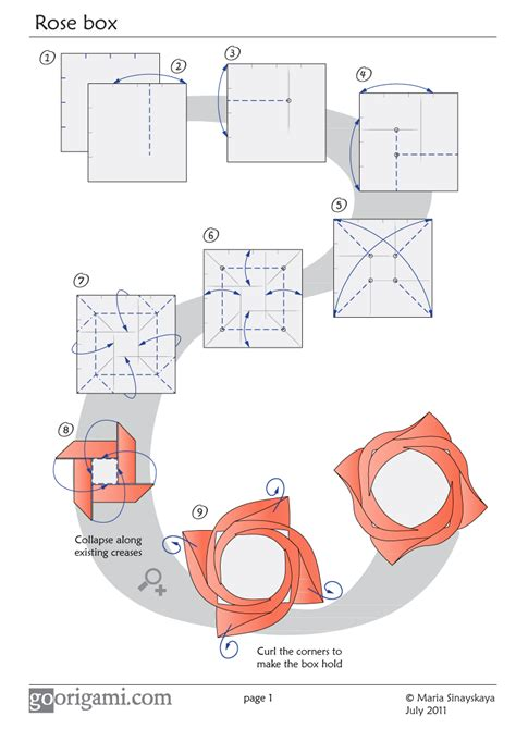 how to make an origami flower box box diagram