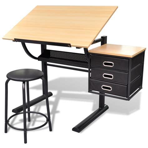 drafting table stool tilt drawing drafting table w 3 drawers stool buy