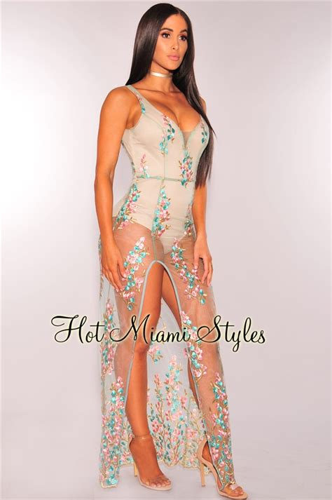 nude dresses nude embroidered floral sheer mesh maxi dress
