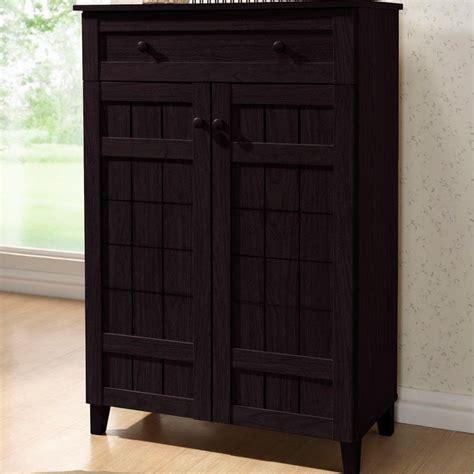Floor To Ceiling Shoe Rack by Baxton Studio Glidden Dark Brown Wood Tall Storage Cabinet