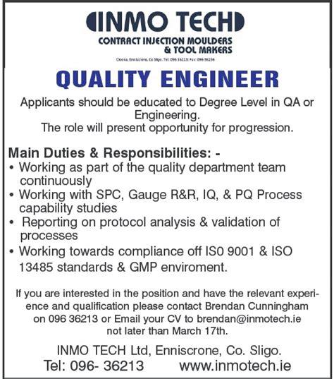 Design Engineer quality engineer inmo enniscrone it sligo school of