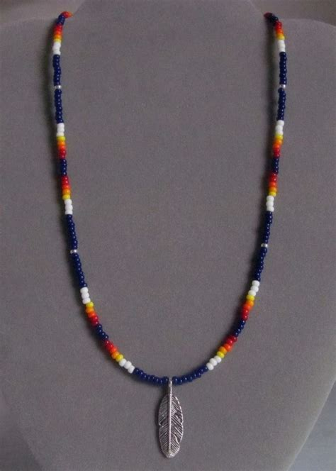 indian beaded necklace navy blue feather beaded mens necklace american ebay