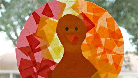 stained glass tissue paper craft tissue paper stained glass turkey craft