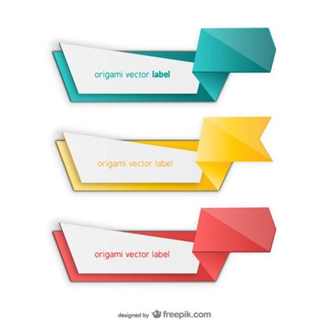 colorful origami colorful origami label pack free vectors ui