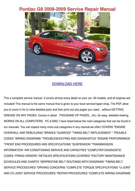 car repair manuals online pdf 2009 pontiac solstice engine control pontiac g8 2008 2009 service repair manual by patricia dimuccio issuu