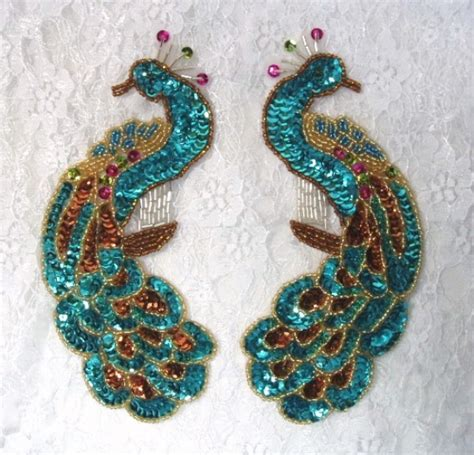 beaded appliques 0167 turquoise peacock pair sequin beaded appliques