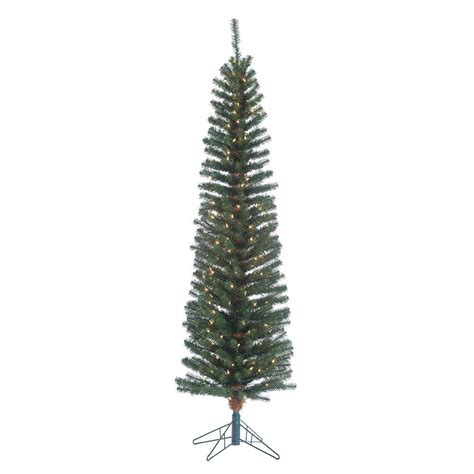 pre lit pencil trees artificial sterling 6 5 ft pre lit narrow pencil fir artificial