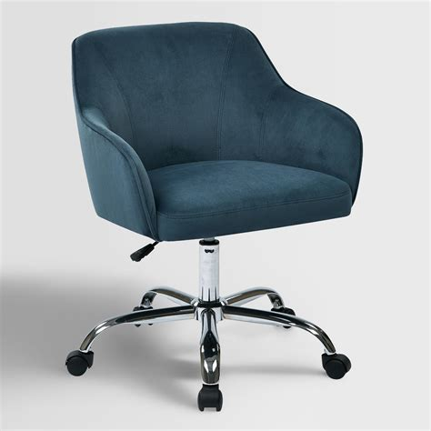home chairs blue velvet jozy home office chair world market
