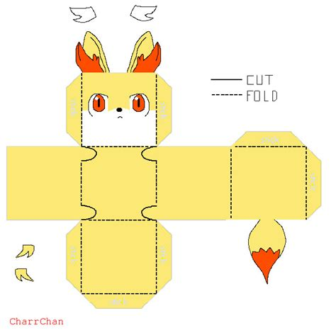 paper crafts templates fennekin template papercraft by charrchan on deviantart