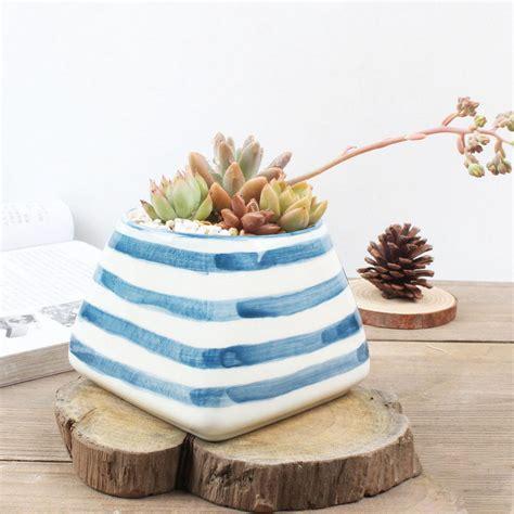 modern white planter modern blue white ceramic planter