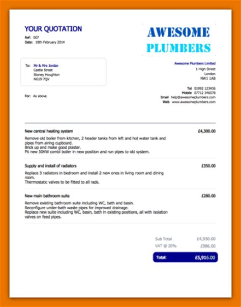 job quote template plumber quote template