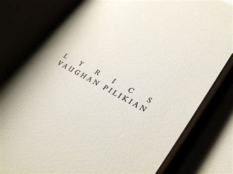 picture book of my lyrics letterpress printed lyrics book for vaughan pilikian