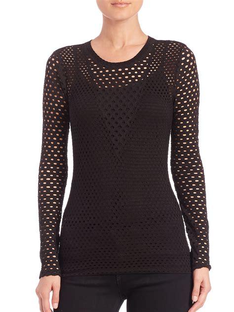 knit blouse bcbgmaxazria elain mesh knit blouse in black lyst