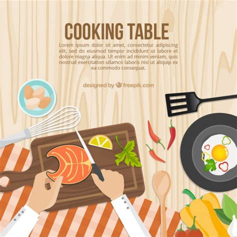 free kitchen table cooking table template vector free
