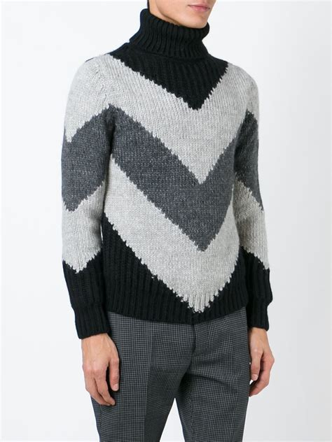 black knit sweater moncler chevron knit sweater in black for lyst