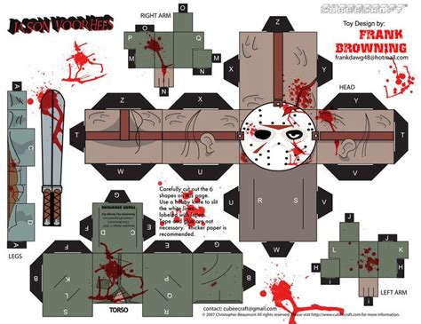 paper craft toys jason voorhees cubee by frankdawg48 deviantart on