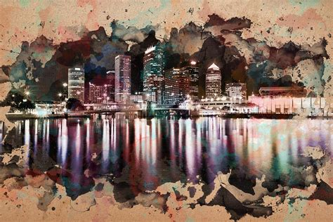 paint nite ta city reflections watercolor painting painting by