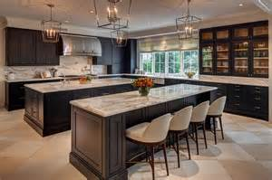 Kitchen Island With Cooktop And Seating kitchen with two black islands contemporary kitchen