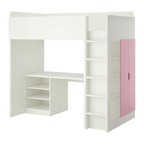 ikea loft bed stuva loft bed combo w 2 shelves 2 doors white pink ikea