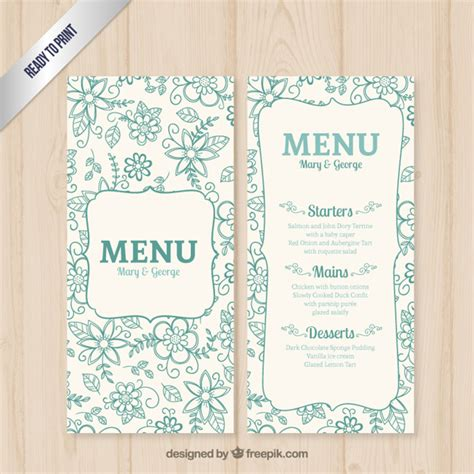 molde do menu do casamento floral baixar vetores gr 225 tis