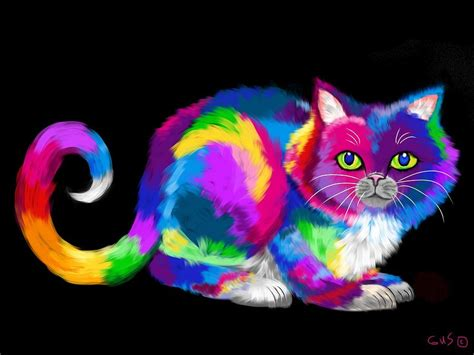 rainbow cat painting the gallery for gt colorful cat paintings